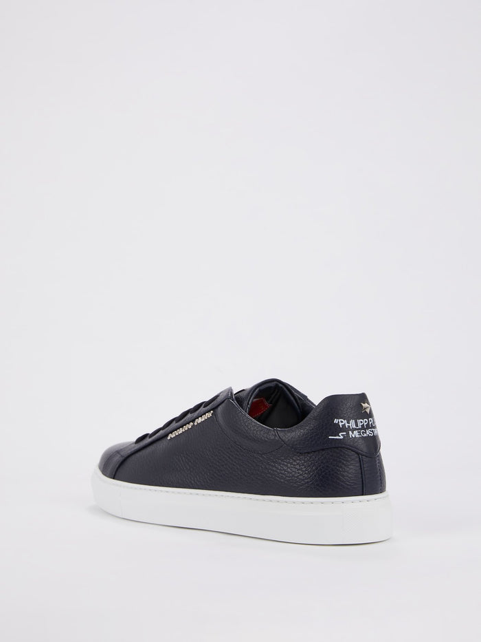 Navy Textured Leather Sneakers