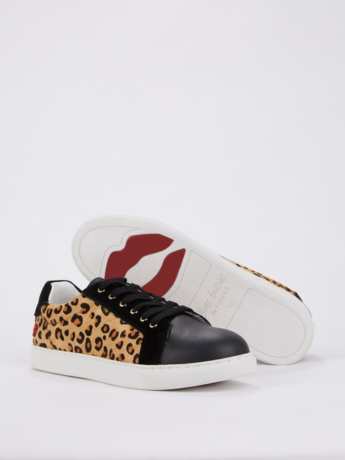 Simone Leopard Effect Pony Hair Sneakers