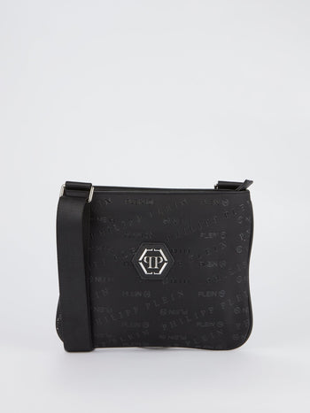 Black Monogram Patched Crossbody Bag