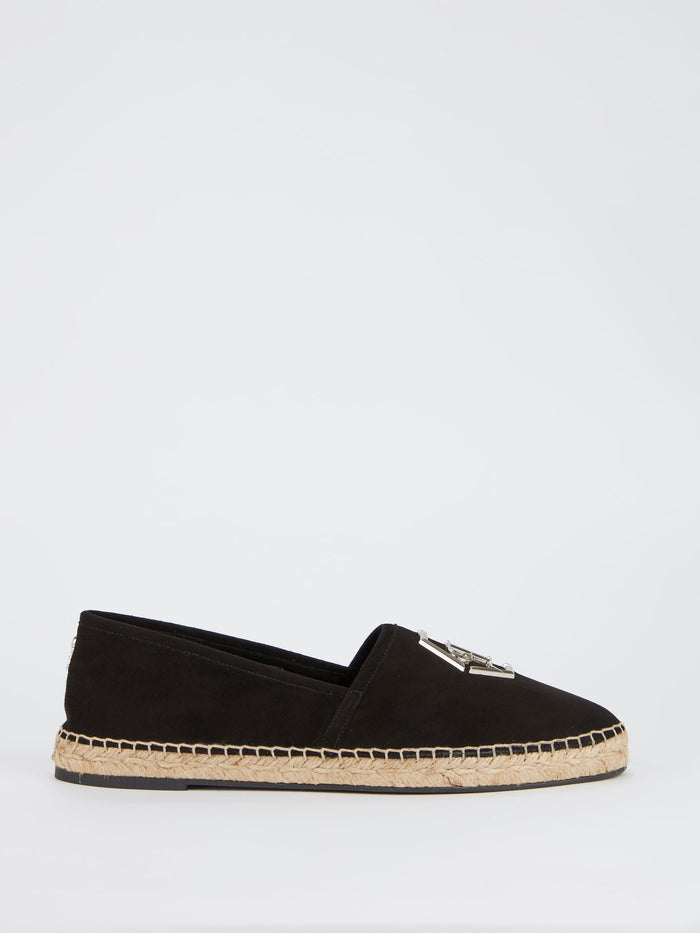 Black Monogram Embellished Espadrilles