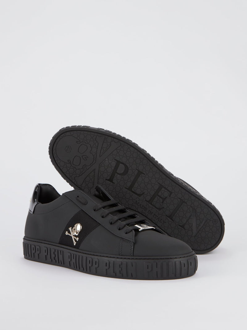 Black Logo Skull Sneakers