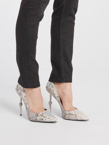 Decollete Python Leather Pumps