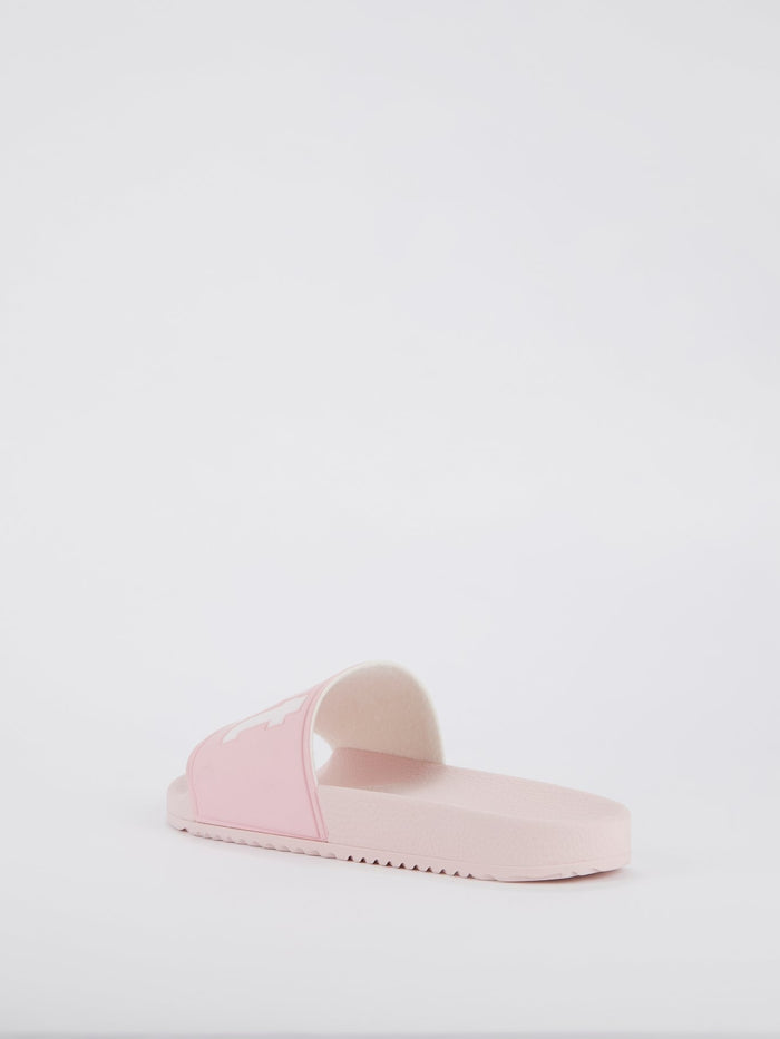 Pink Logo Strap Top Slippers