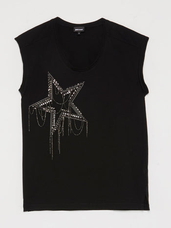 Black Beadwork Star Sleeveless Top