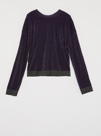 Purple Zip Back Glitter Sweater