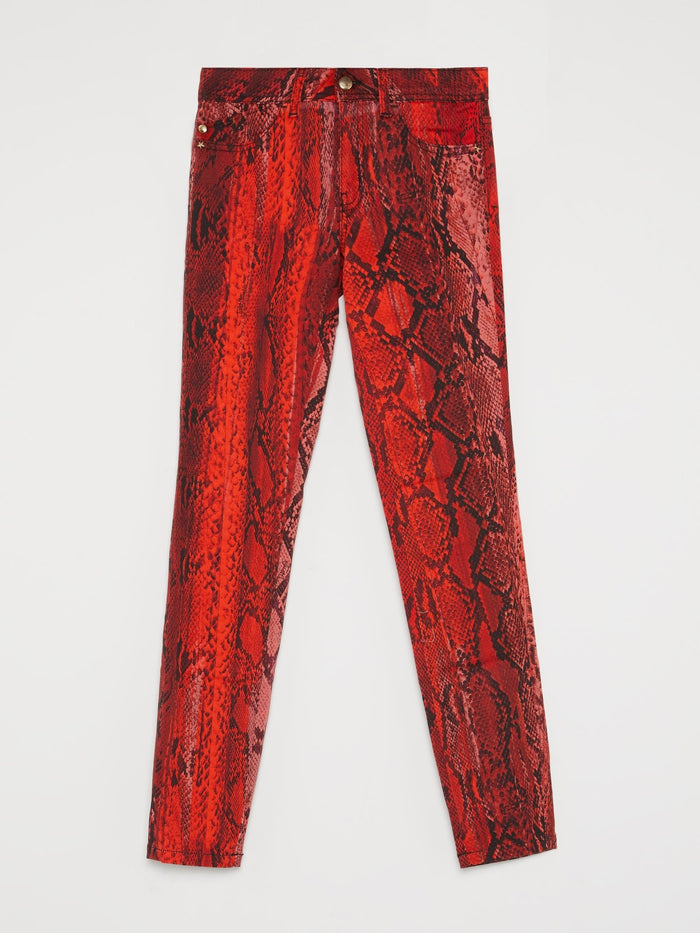 Red Python Print Slim Fit Pants