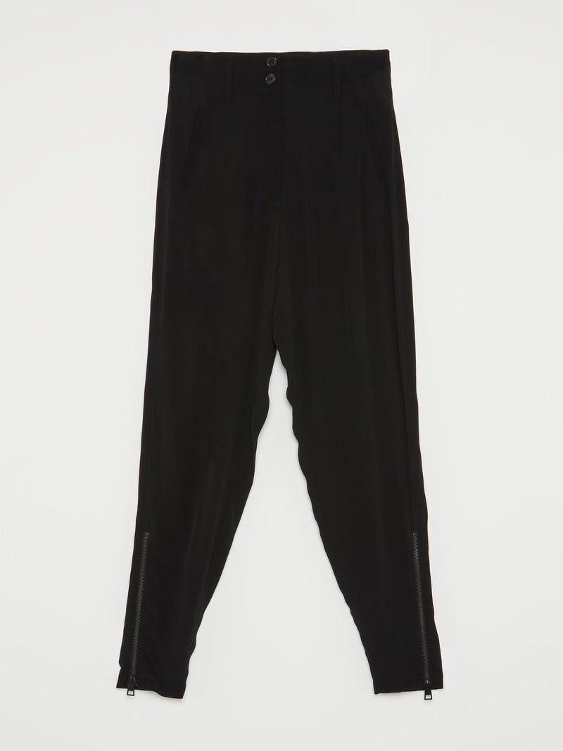 Black Side Zip Harem Pants