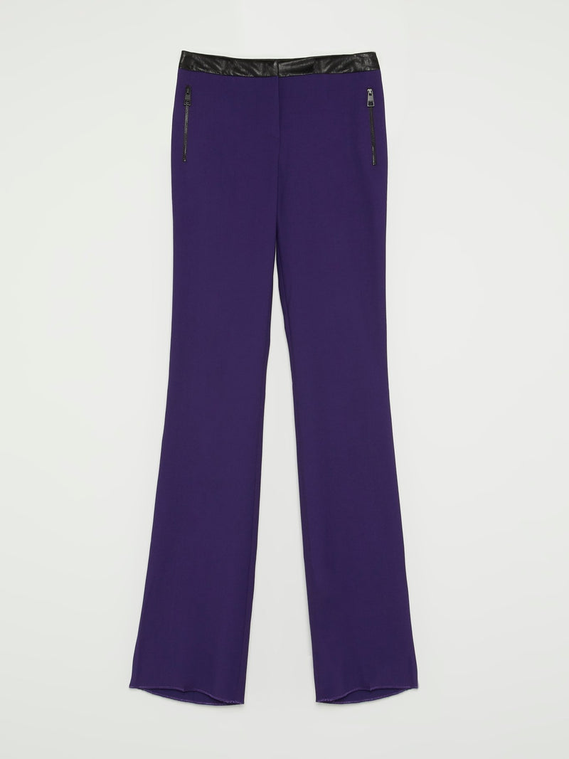 Purple Leather Waistband Bootcut Pants