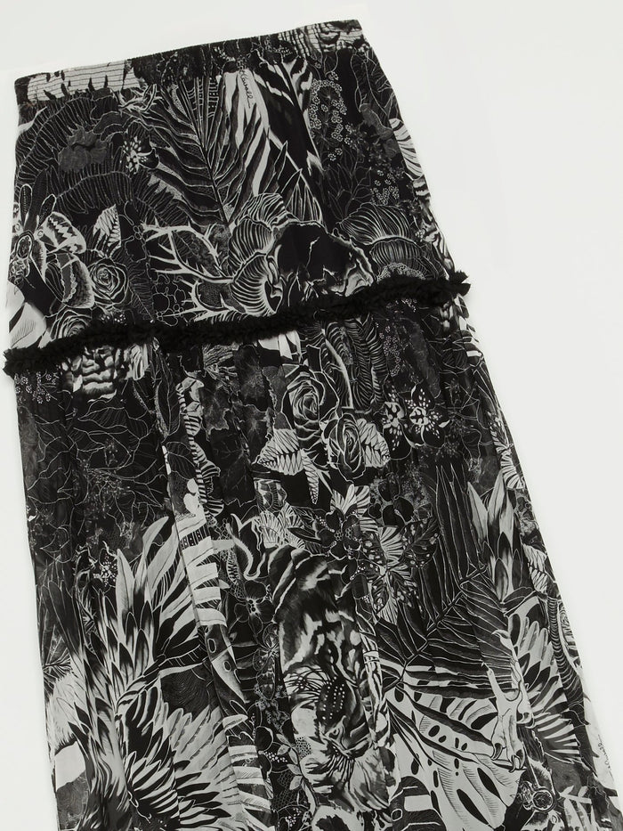 Black Tropical Print Boho Maxi Skirt