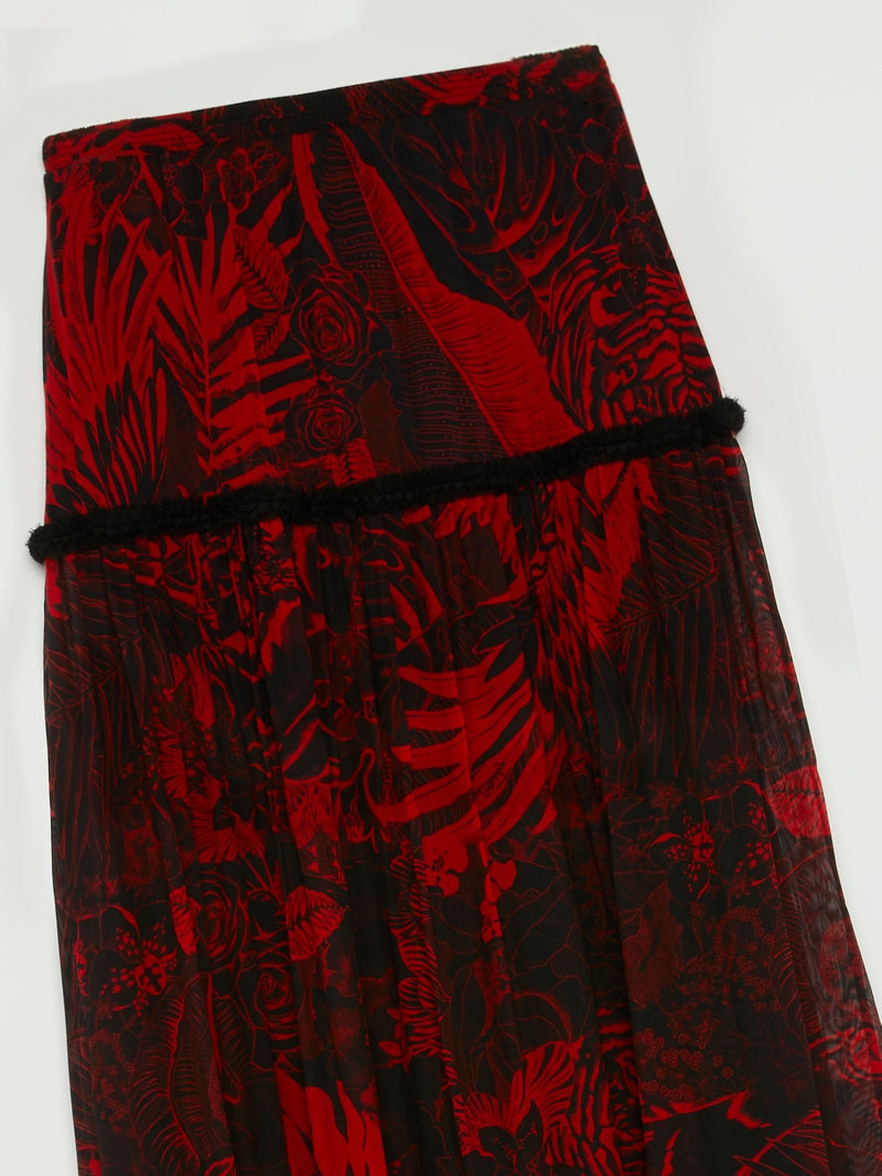 Red Tropical Print Boho Maxi Skirt