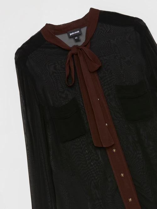 Black Bow Tie Mesh Shirt