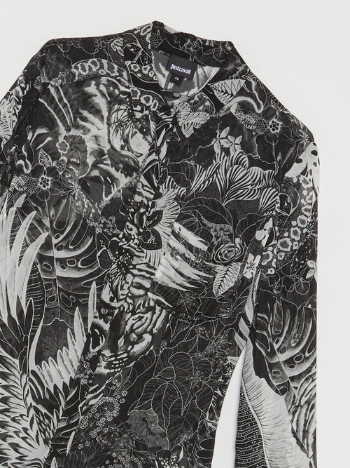 Grey Tropical Print Shirt