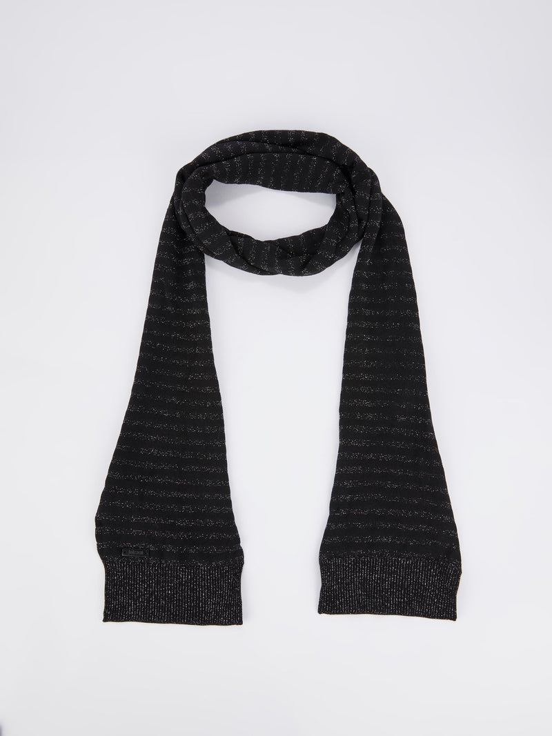 Black Glitter Striped Scarf