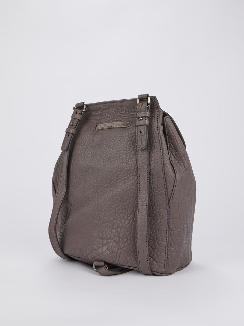 Brown Textured Leather Mini Backpack