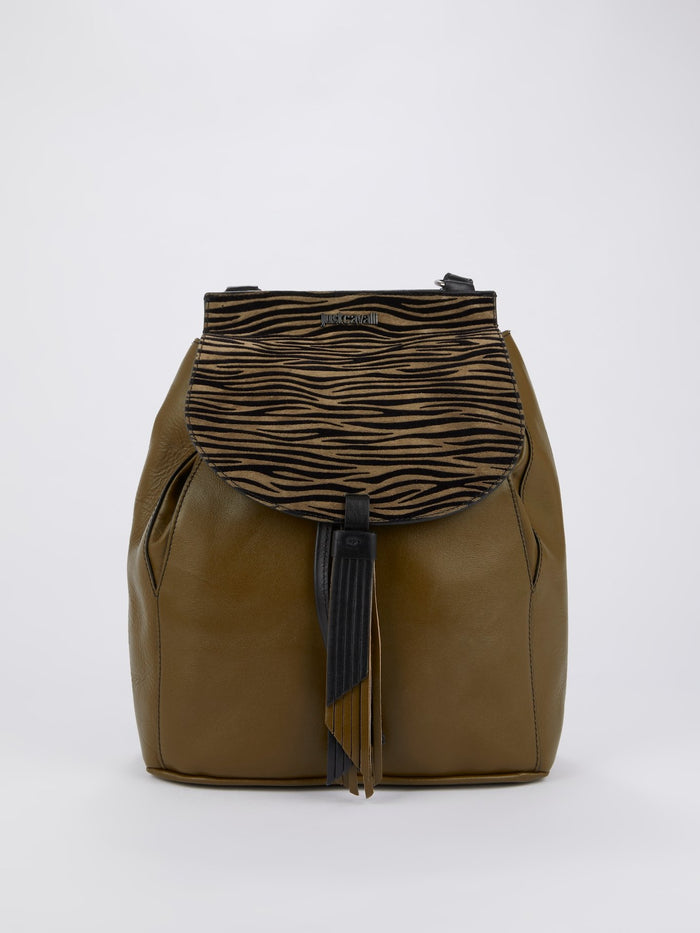 Olive Animal Print Leather Mini Backpack