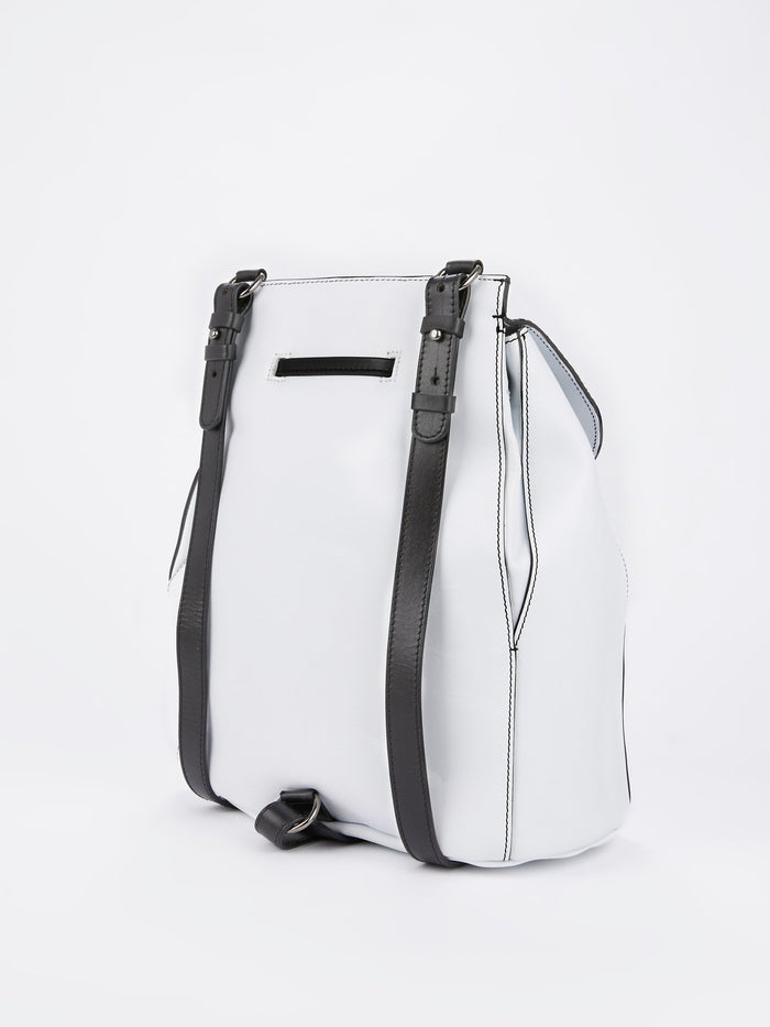 White Animal Print Leather Mini Backpack
