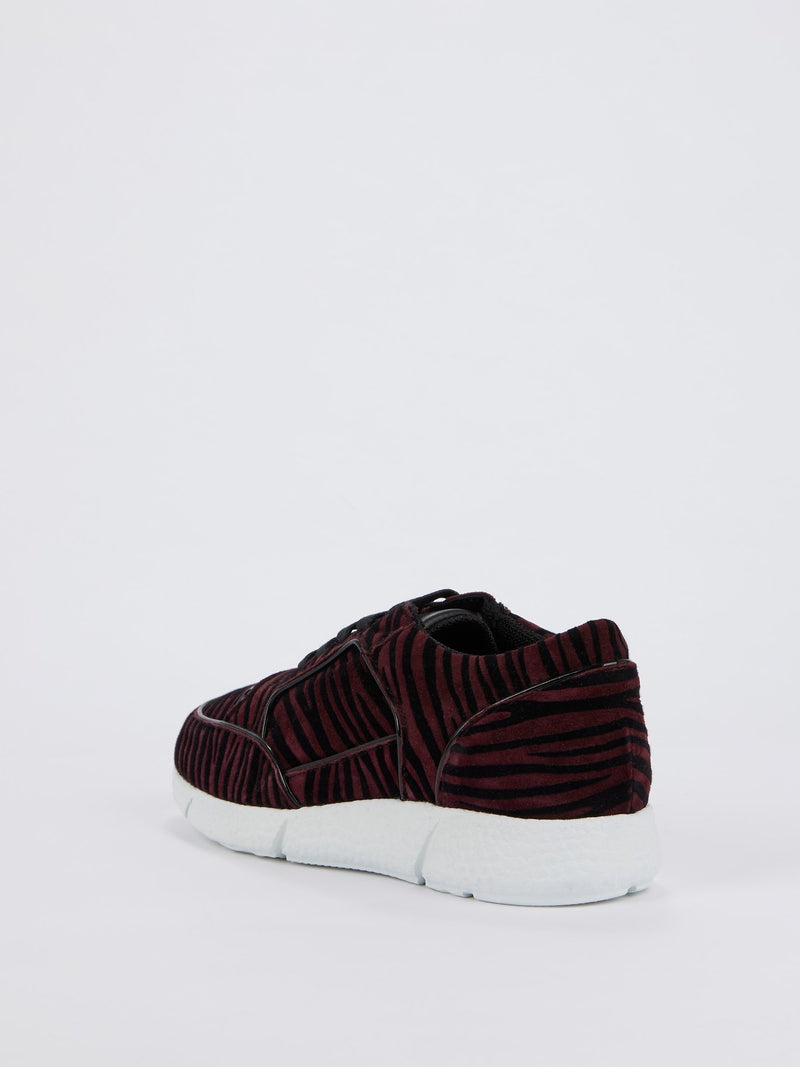Burgundy Animal Print Velvet Sneakers