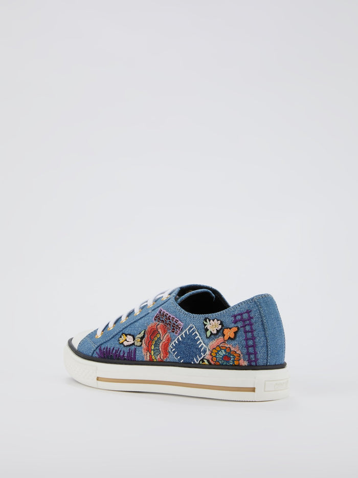 Blue Embroidered Denim Sneakers