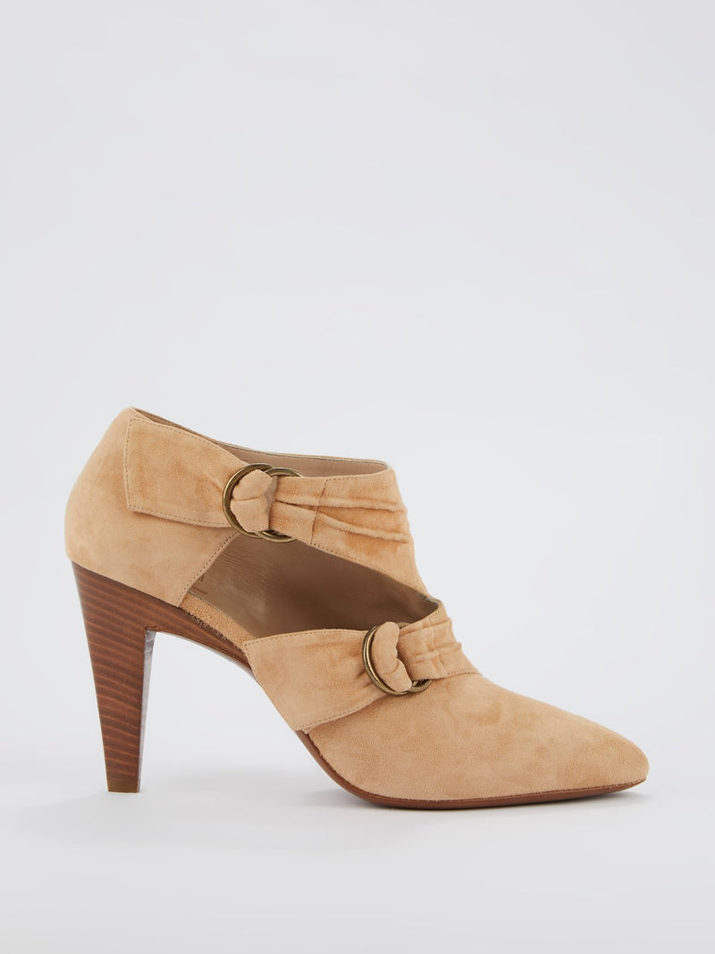 Beige Multi-Strap Suede Boots
