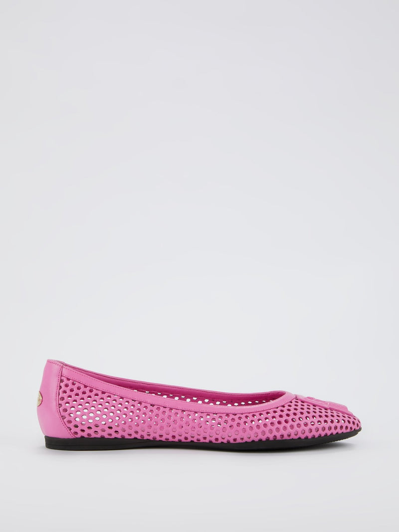 Pink Perforated Ballerina Flats