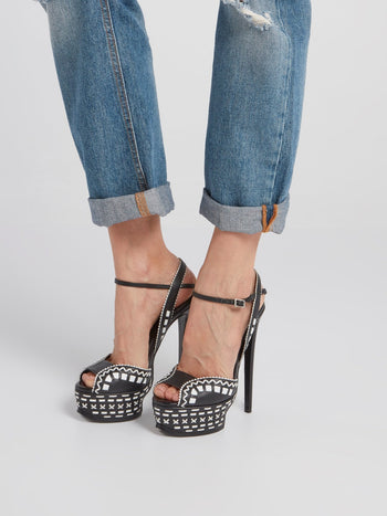 Black Contrast Detail High-Heel Sandals