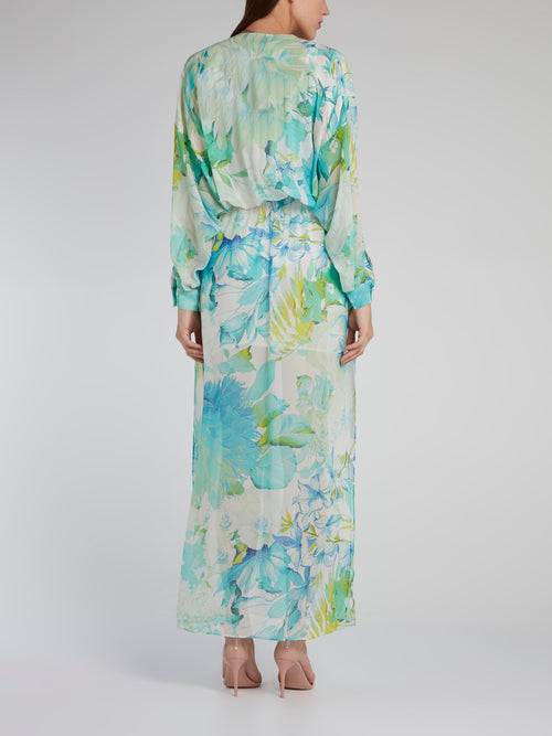Tropical Print Slit Long Kaftan
