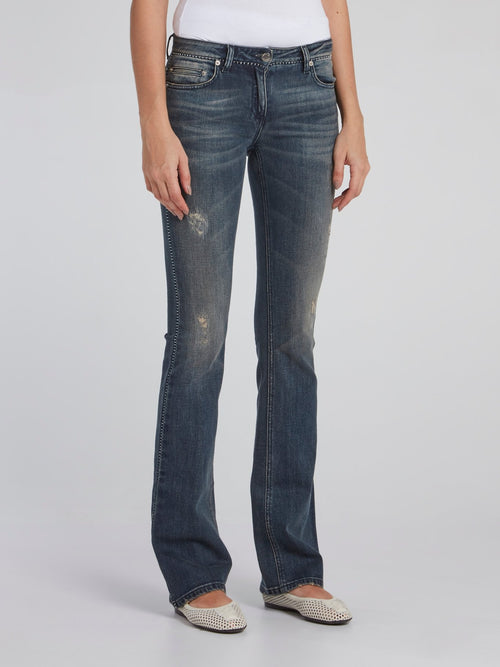 Navy Distressed Bootcut Jeans