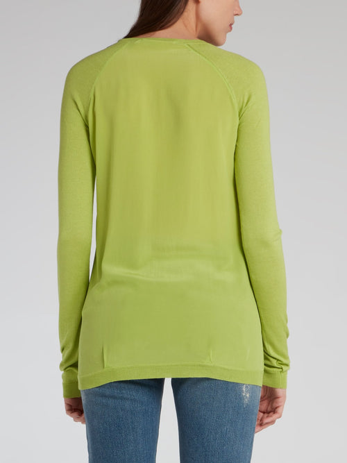 Green V-Neck Knit Pullover