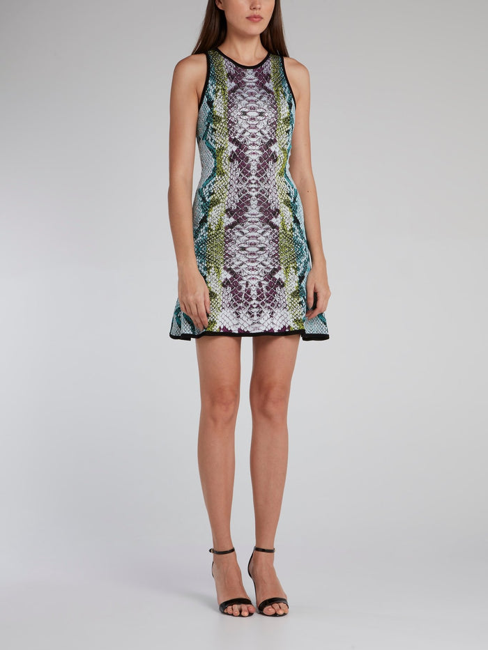 Python Effect Flared Mini Dress
