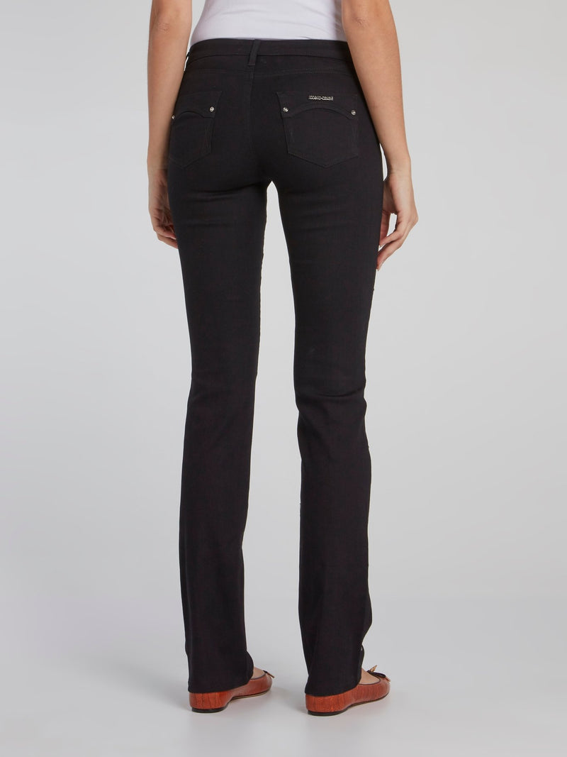 Black Multi-Stud Slim Fit Pants
