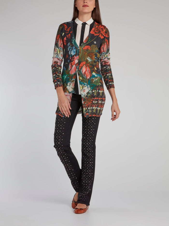 Painted Floral Print Pleat Panel Shirt