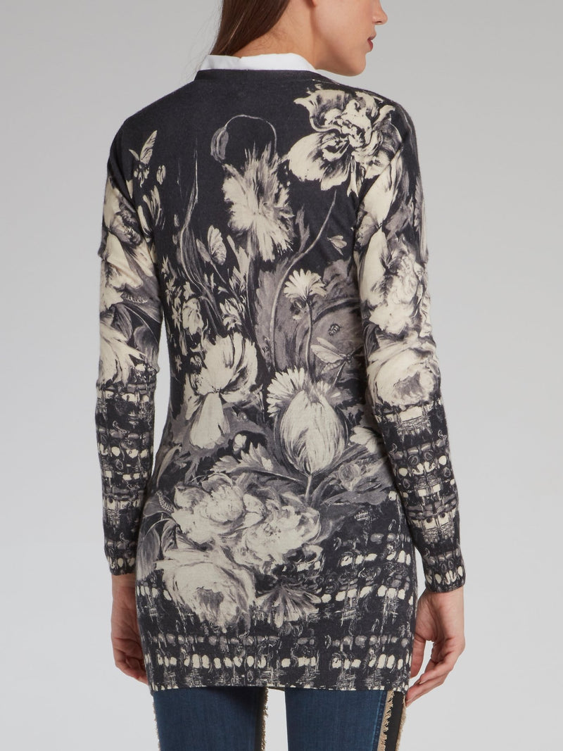 Grayscale Floral Print Cardigan