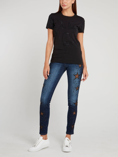 Keira Syll Navy Studded Jeggings