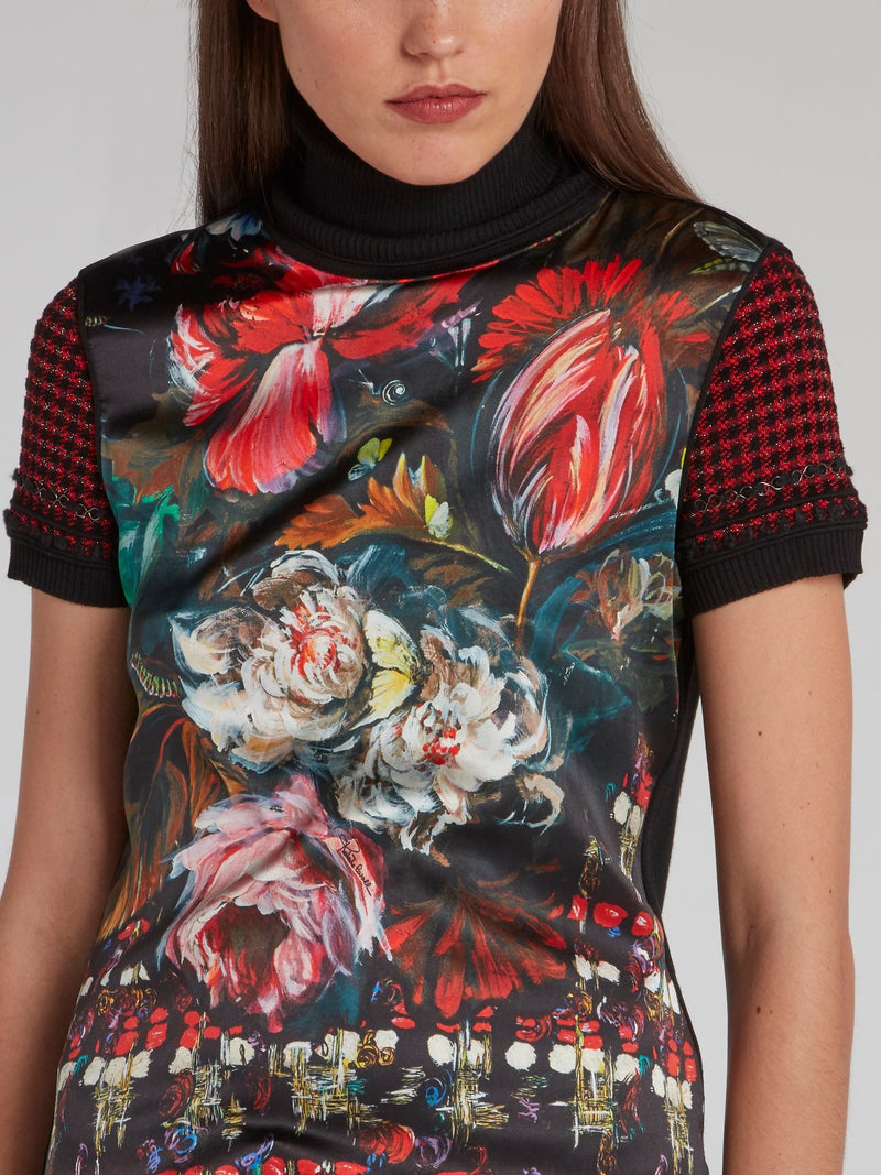 Painted Floral Print Turtleneck Top