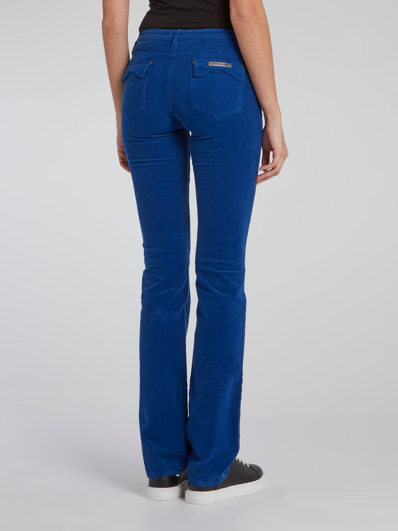Blue Straight Cut Corduroy Pants