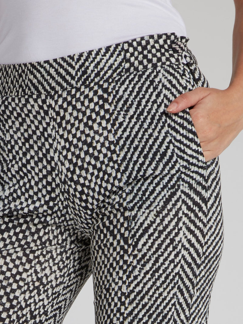 Jacquard Weave Straight Cut Trousers