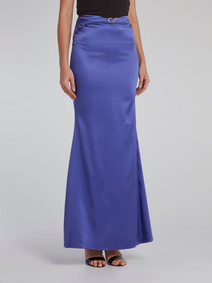 Purple Flared Maxi Skirt