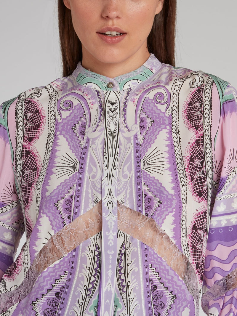 Jacquard Print Lace Panel Shirt