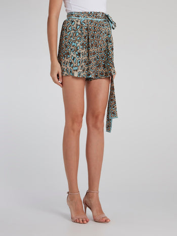 Blue Leopard Effect Pleated Shorts