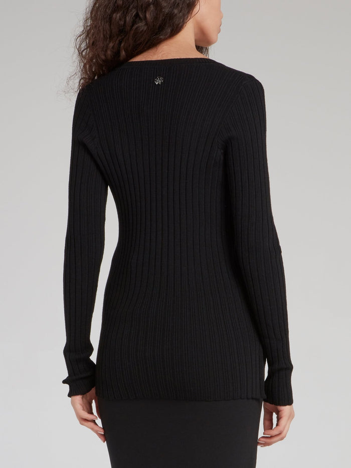 Black V-Neck Ribbed Sweater