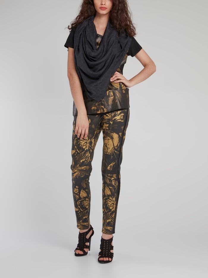 Gold Floral Print Leather Trousers