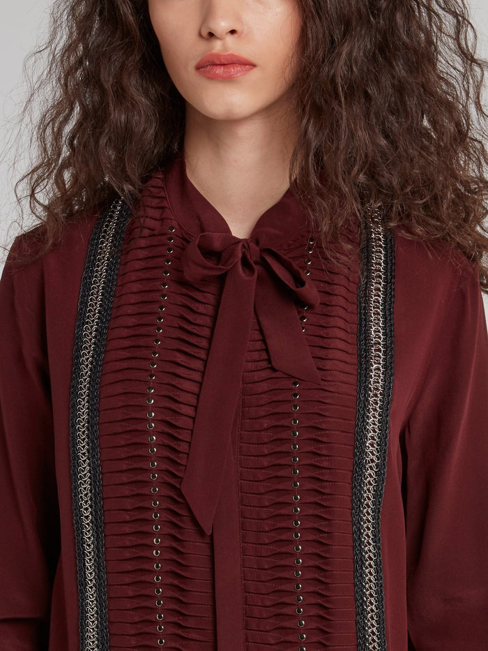 Burgundy Chain Detail Bow Tie Shirt