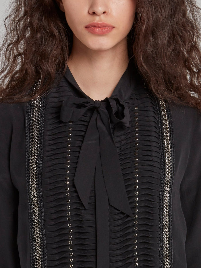 Black Chain Detail Bow Tie Shirt