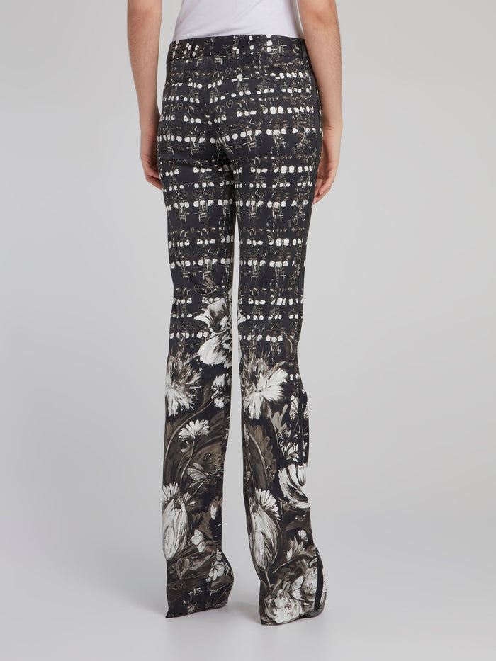 Black Floral Print Bootcut Trousers