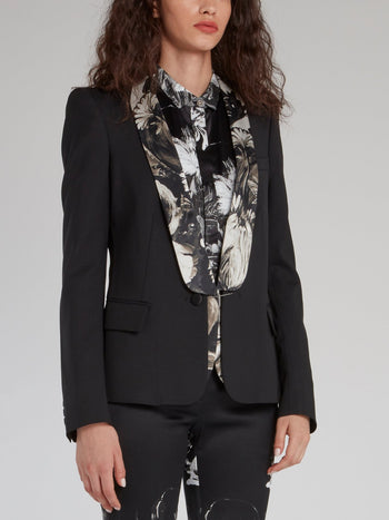 Black Floral Collar Blazer