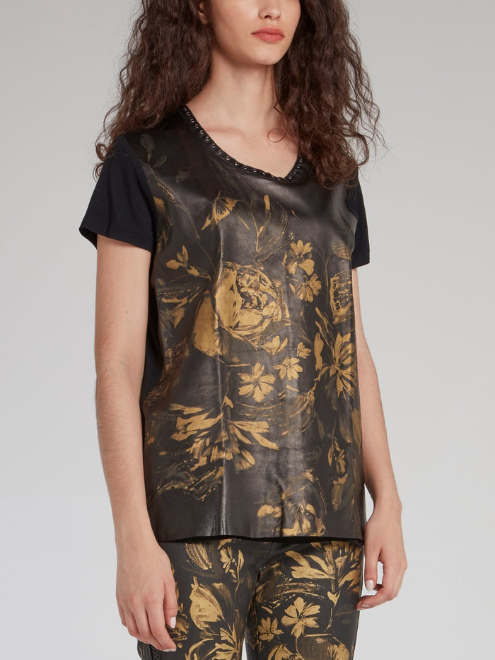 Gold Floral Print Leather Panel T-Shirt