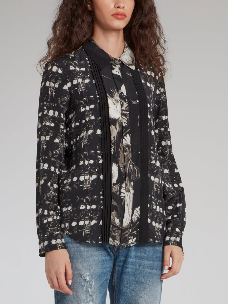 Black Pleat Panel Printed Shirt