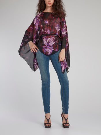 Purple Floral Bateau Neck Short Kaftan