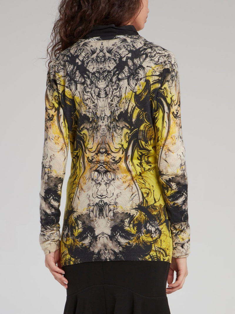 Yellow Baroque Print Cardigan