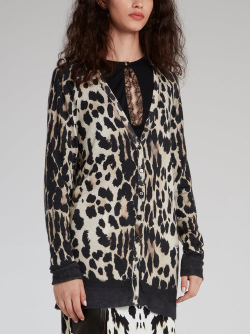 Leopard Print Button Up Cardigan